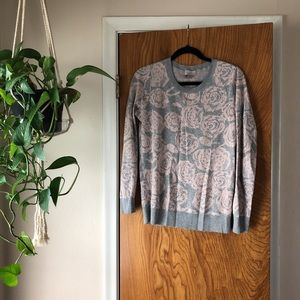 Gray and Pink Rose Sweater